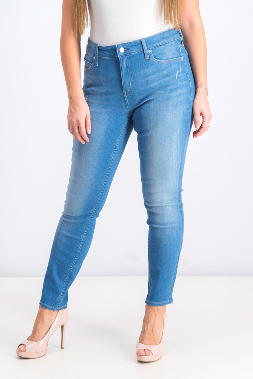 Women's Mid Rise Skinny Fit Jeans, Wash Blue