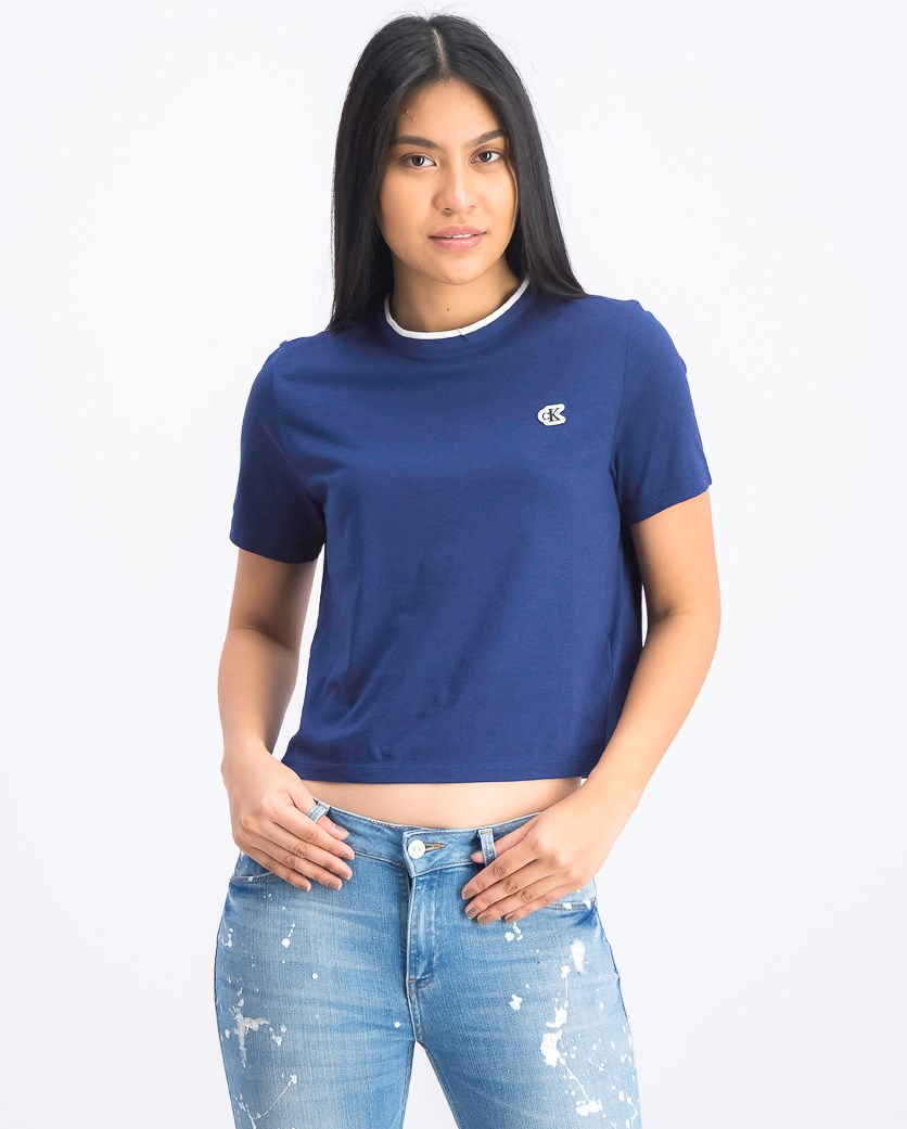 Women's Crew Neckline Crop Top, Navy