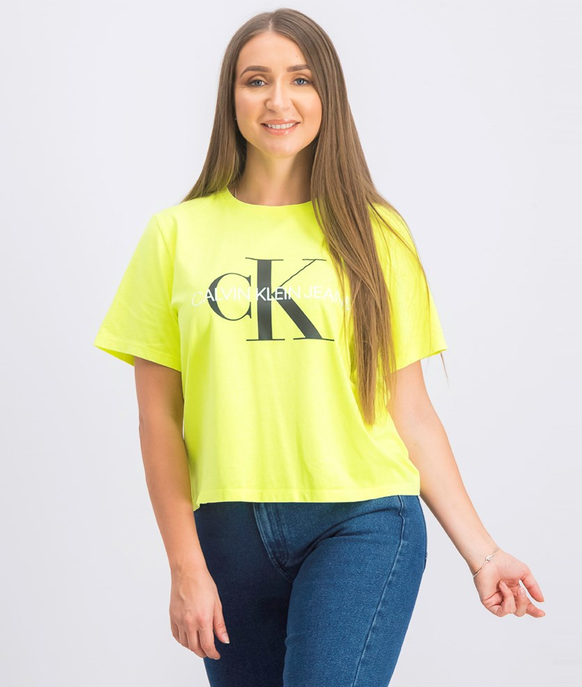 Women's Short Sleeve Graphic Crop Top, Neon Green