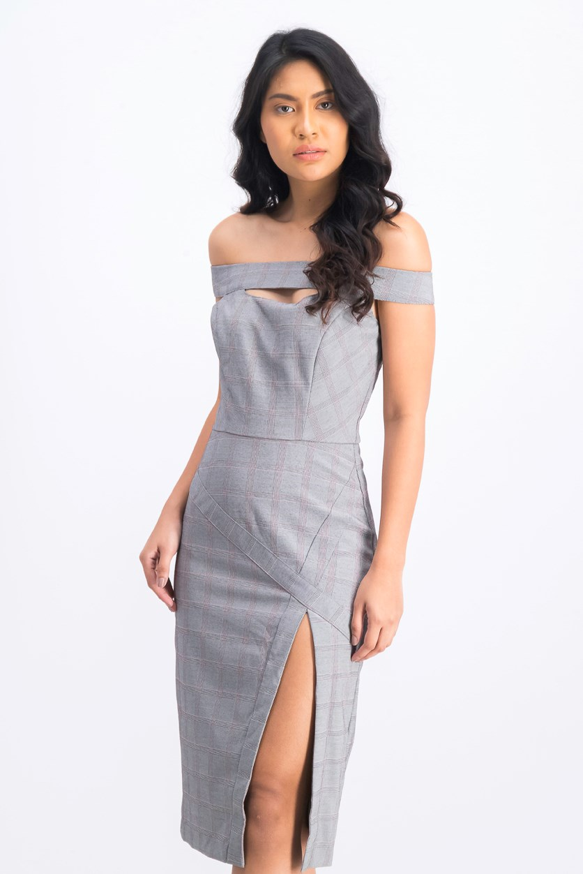Womens Black Cut Out Plaid Off Shoulder Sheath Dress, Gray Combo