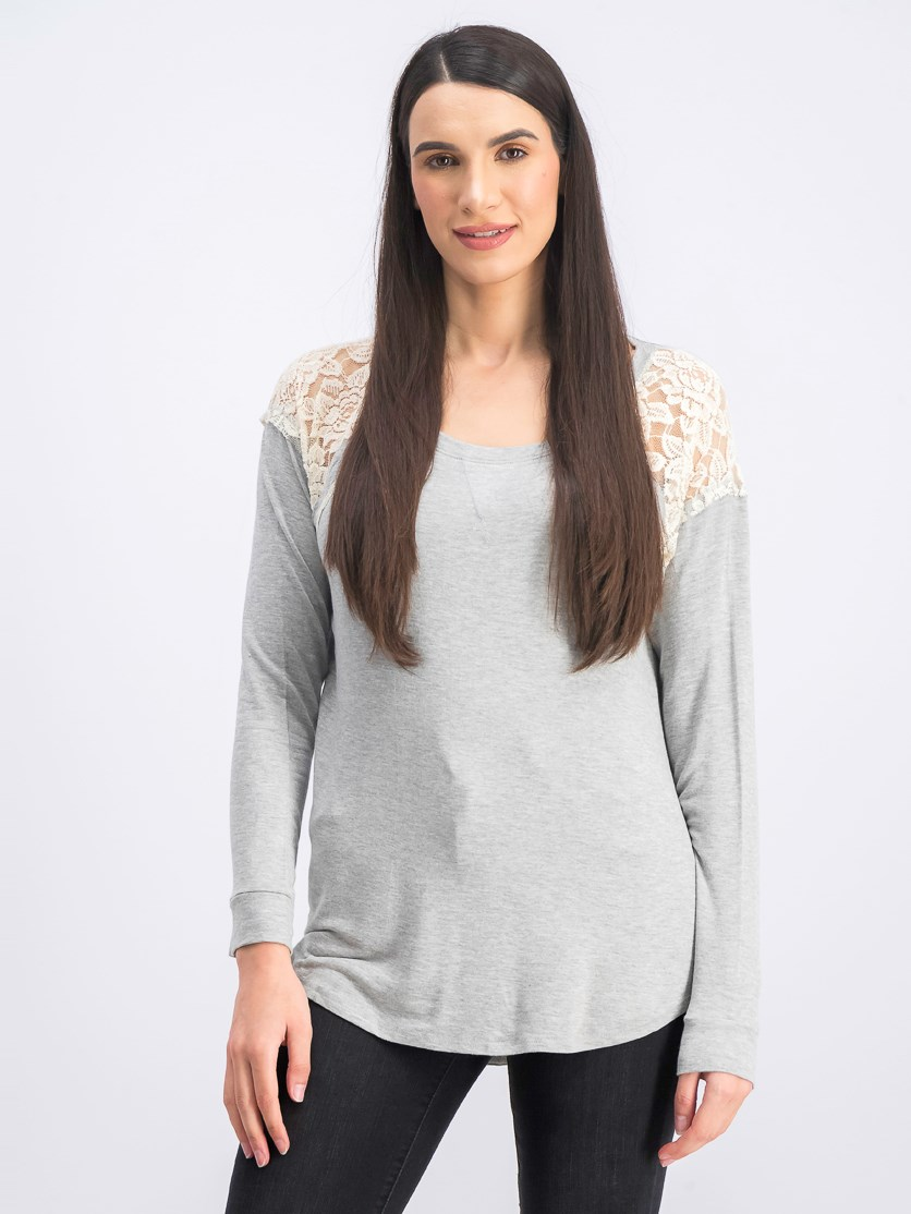 Women's Lace Long Sleeve Top, Gray