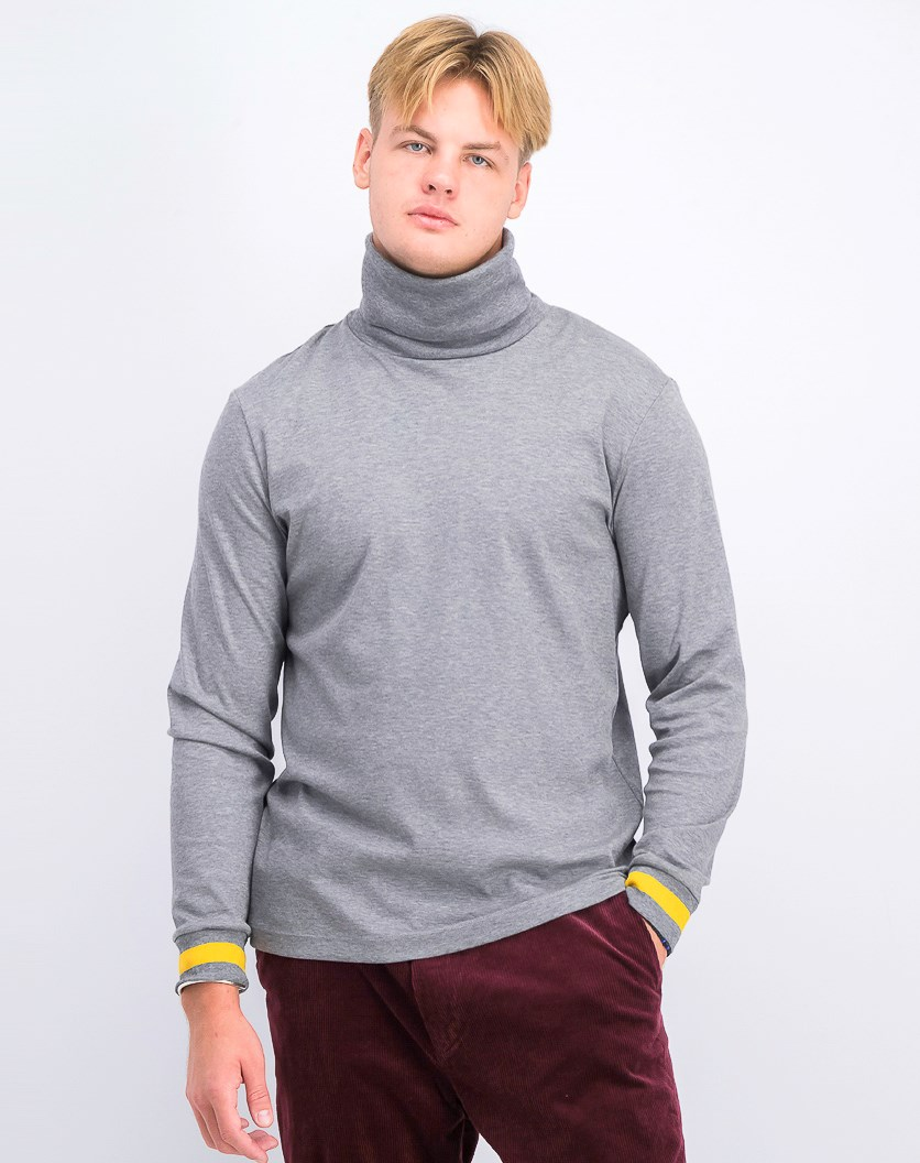 Men's Classic Fit Tipped Cuff Turtleneck, Grey