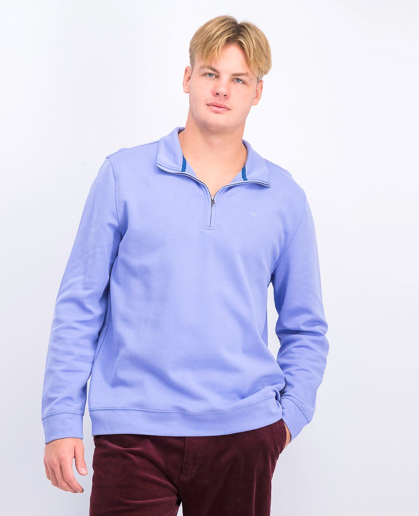 Men's Quarter-Zip Pullover Sweater, Vinca Blue
