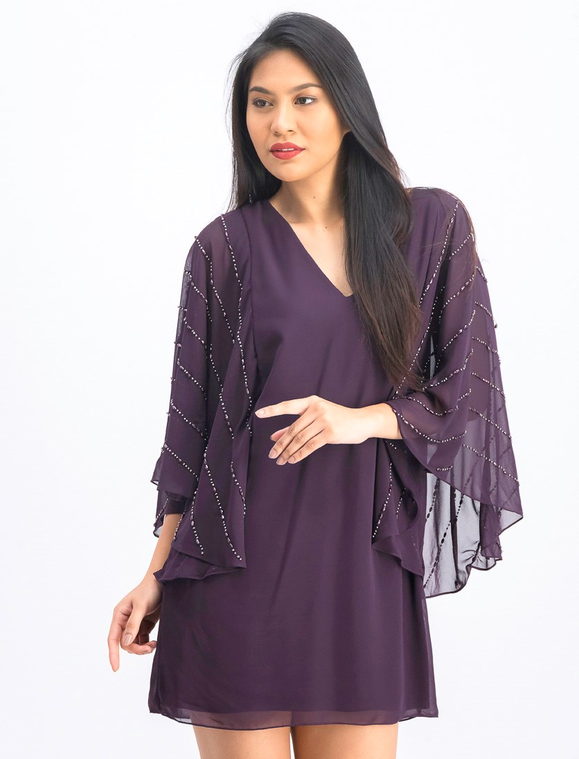 Womens Beaded Chiffon Sleeve Shift Cocktail Dress, Burgundy