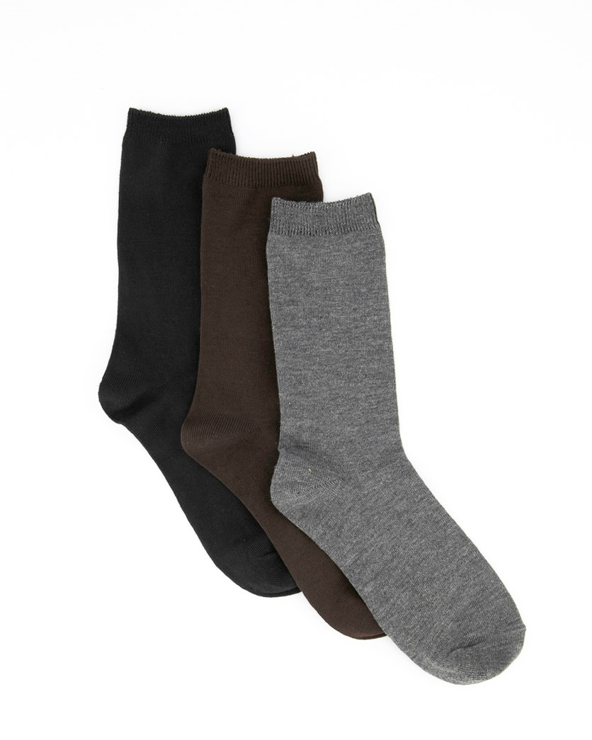 Women's Three Pair Crew Socks, Black/Grey/Brown
