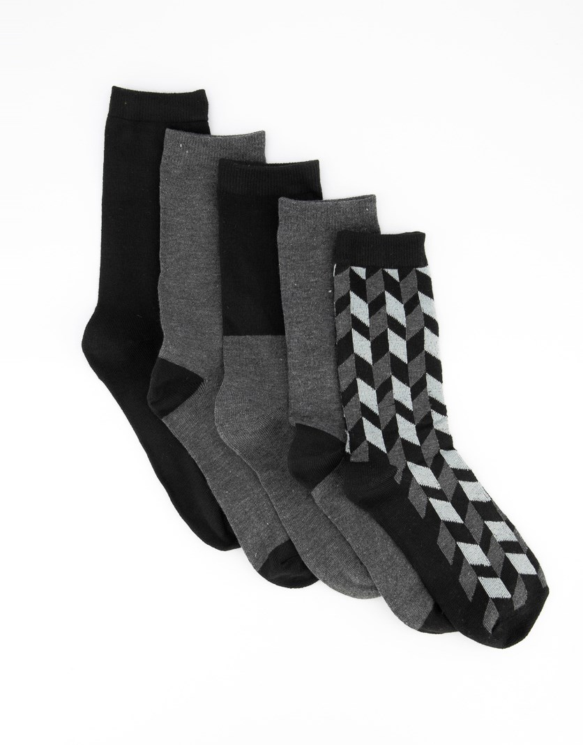 Women's Five Pairs Crew Sock, Black/Grey Combo