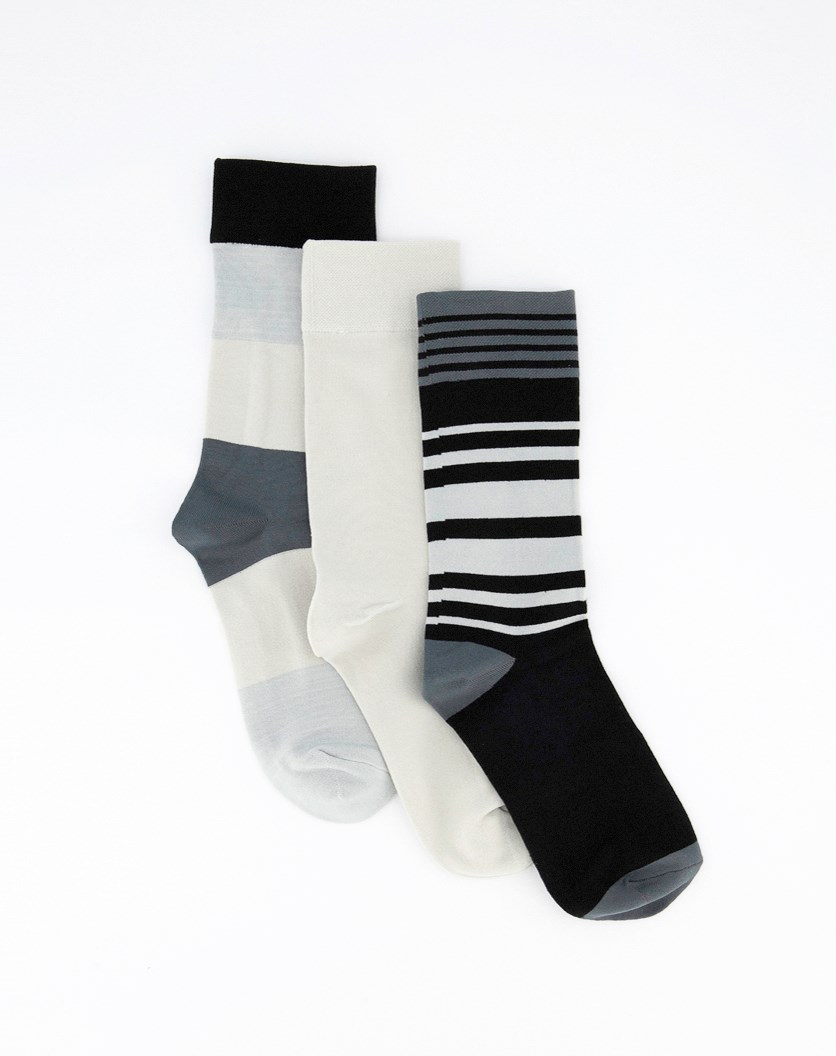Women's Three Pair Crew Socks, Black/Grey Combo