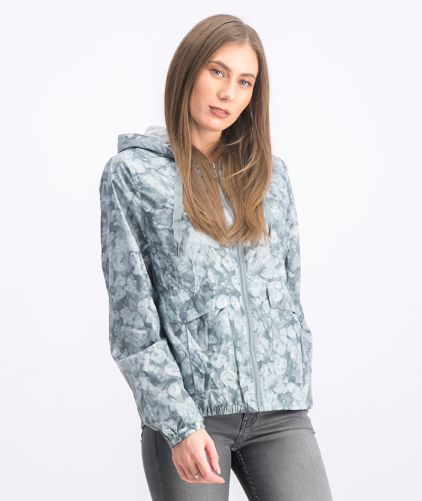Women's Abstract Floral Hooded Windbreaker, Grey Rose