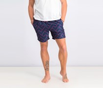 Mens Zigzag Block Swim Trunk, Navy