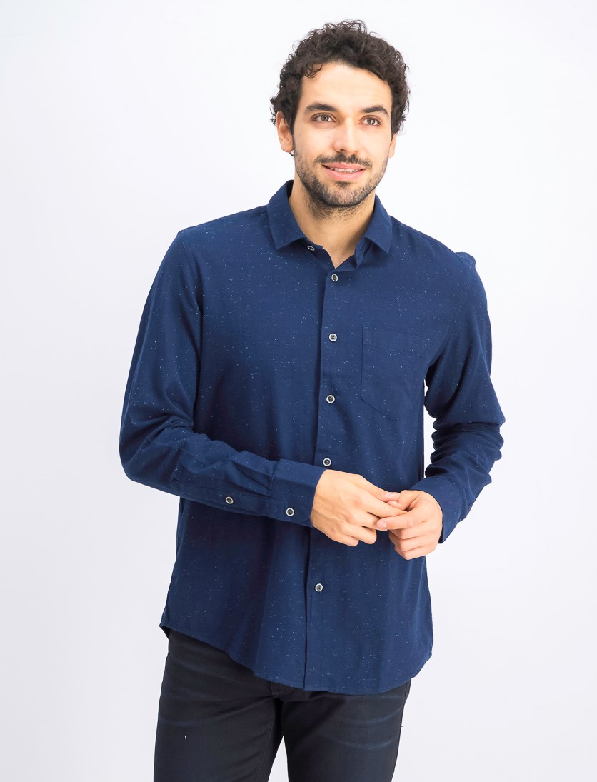 Men's Twill Woven Long Sleeve Shirt, Navy Night