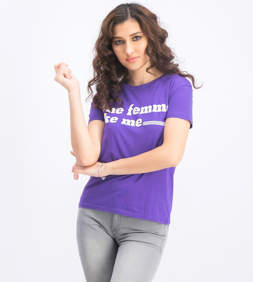 Women's Une Femme Like Me Graphic Print T-Shirt, Purple