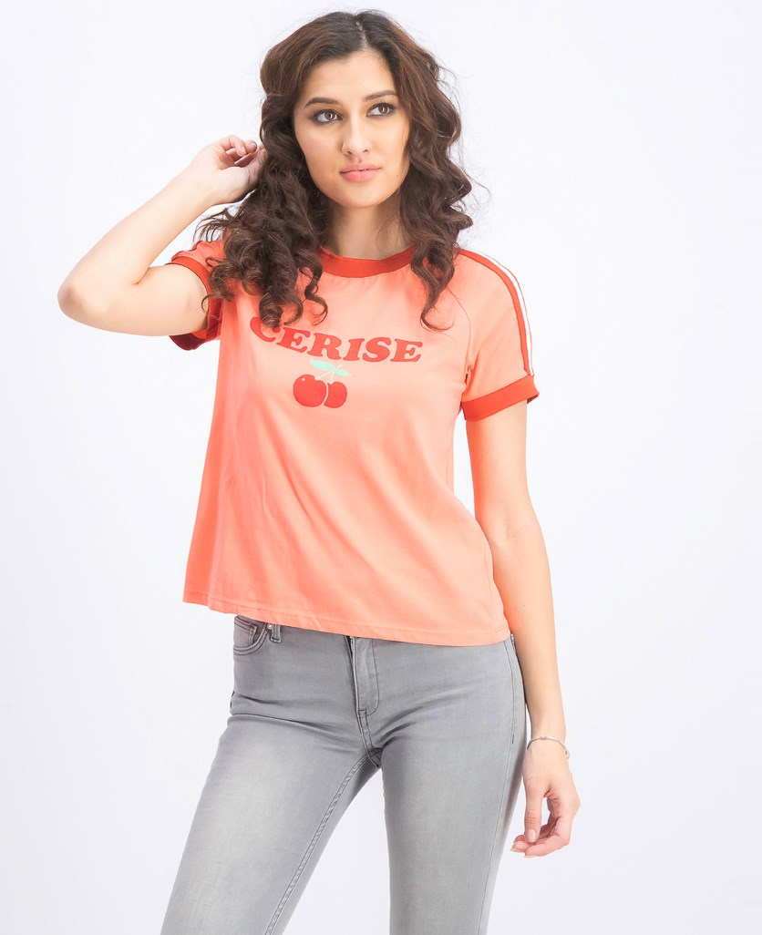 Women's Graphic Printed T-Shirt, Coral