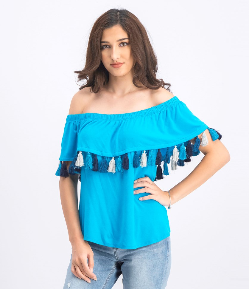Women's Jersey Tassel Pullover Top, Blue