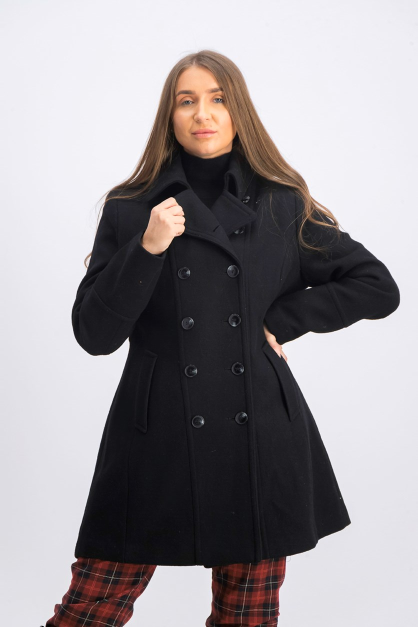 Women's Double-Breasted Walker Coat, Black