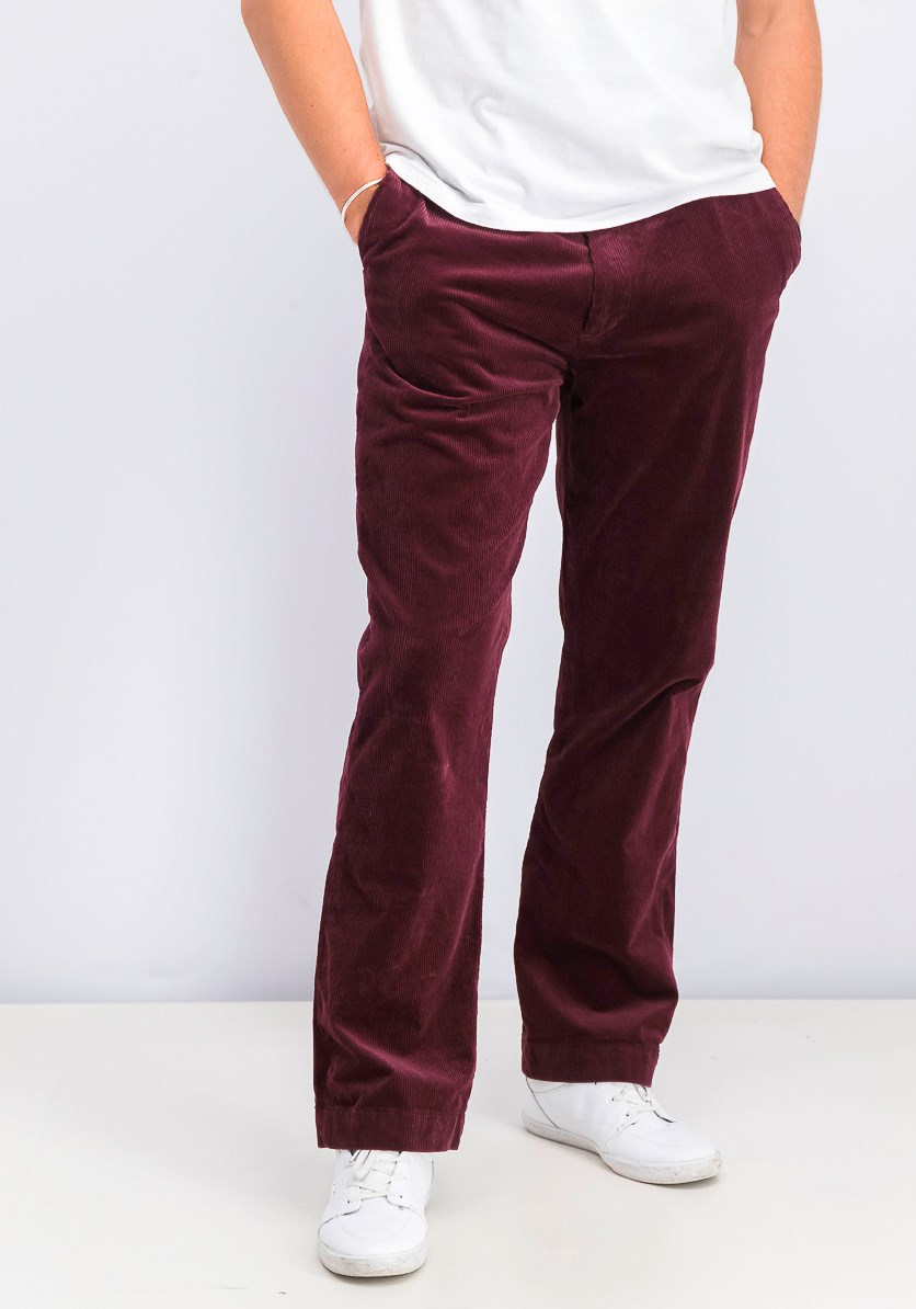 Men's Stretch Classic Fit Corduroy Pants, Maroon