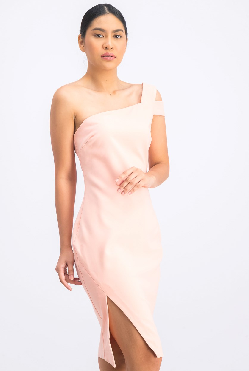 Women's One Shoulder Sleeve Packard Dress, Pink