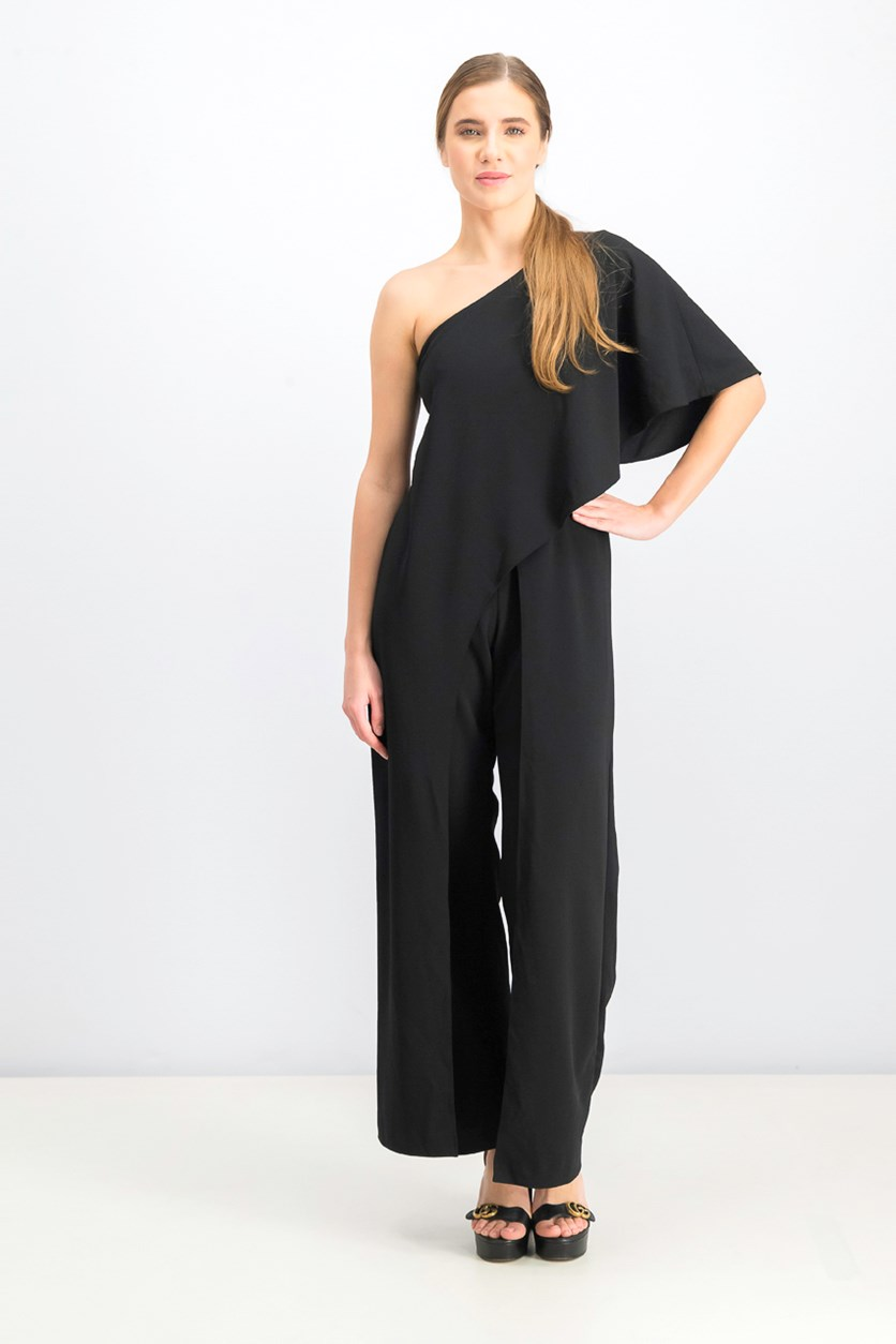Women's Petites One Shoulder Draped Jumpsuit, Black