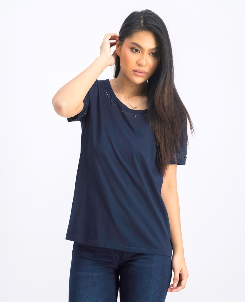 Women's Embellished Short Sleeve Top, Navy