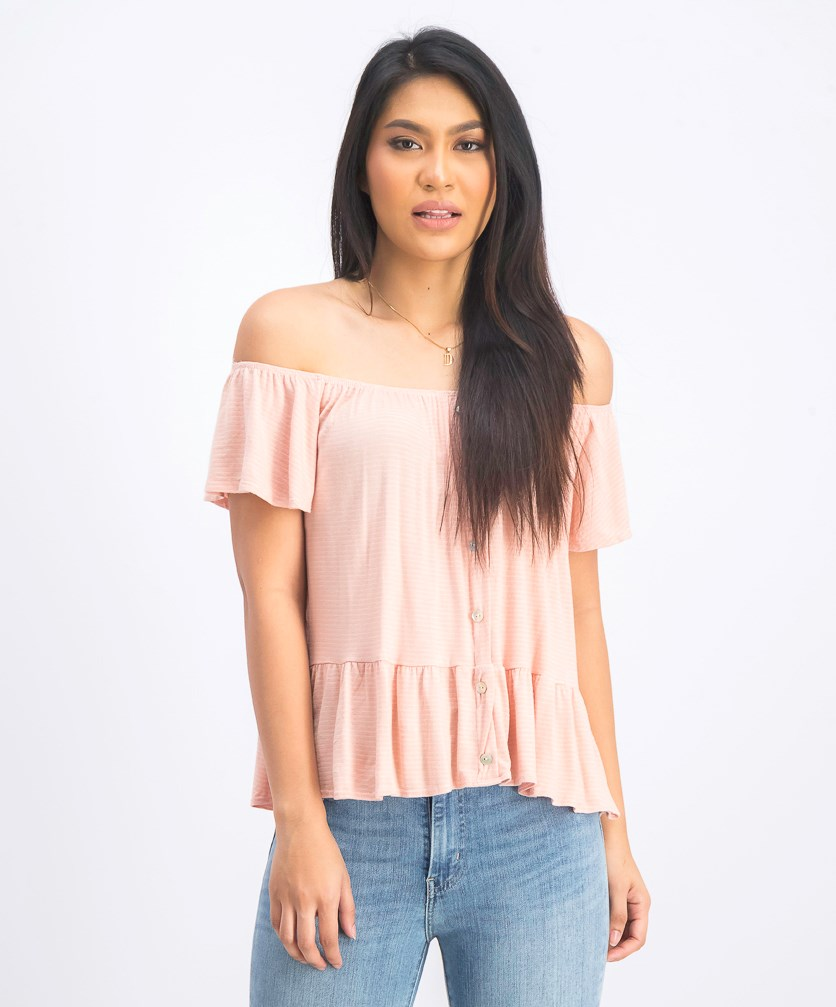 Off-the-Shoulder Striped Top, Peach/White