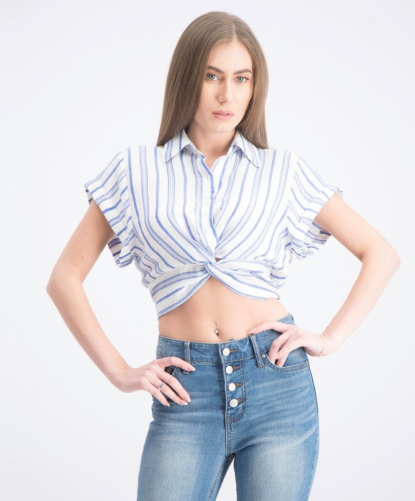 Women's Crepe Cropped Blouse, Blue