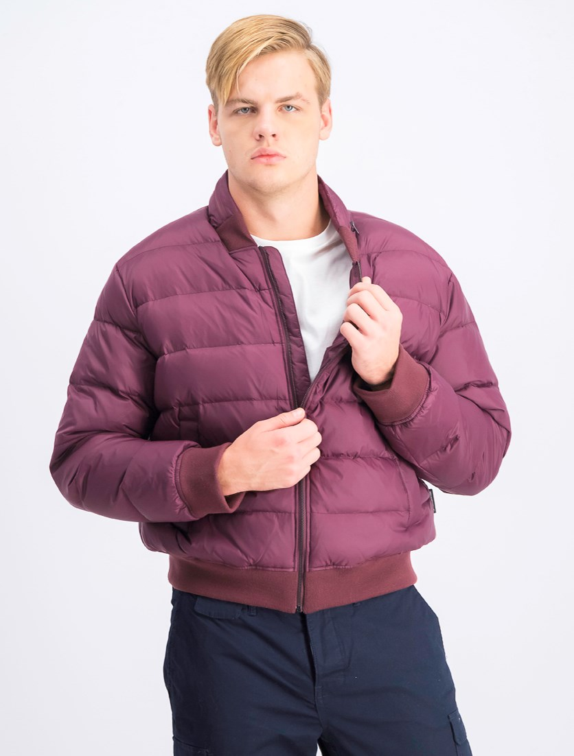 Mens Quilted Down Varsity Jacket, Oxblood