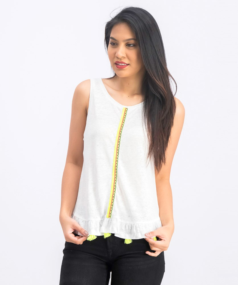 Womens Ruby Flounced Tassel Tank, White/Yellow Green