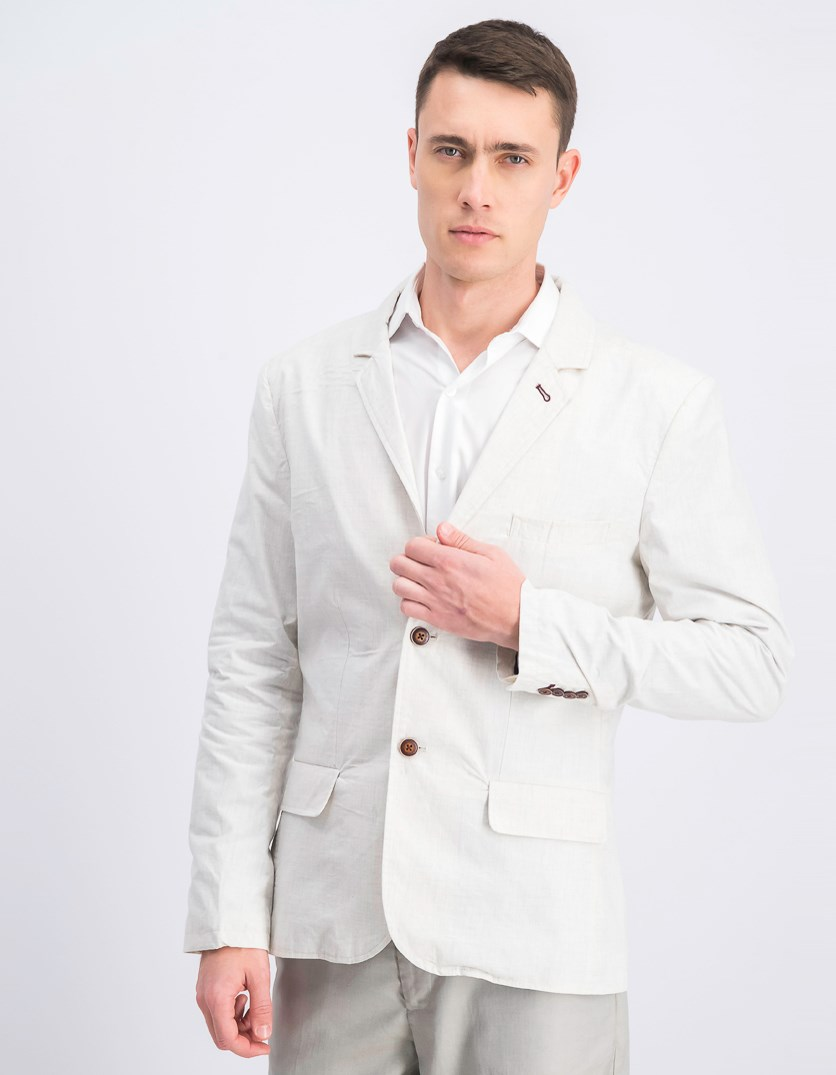 Men's Two Button Long Sleeve Blazer, Beige