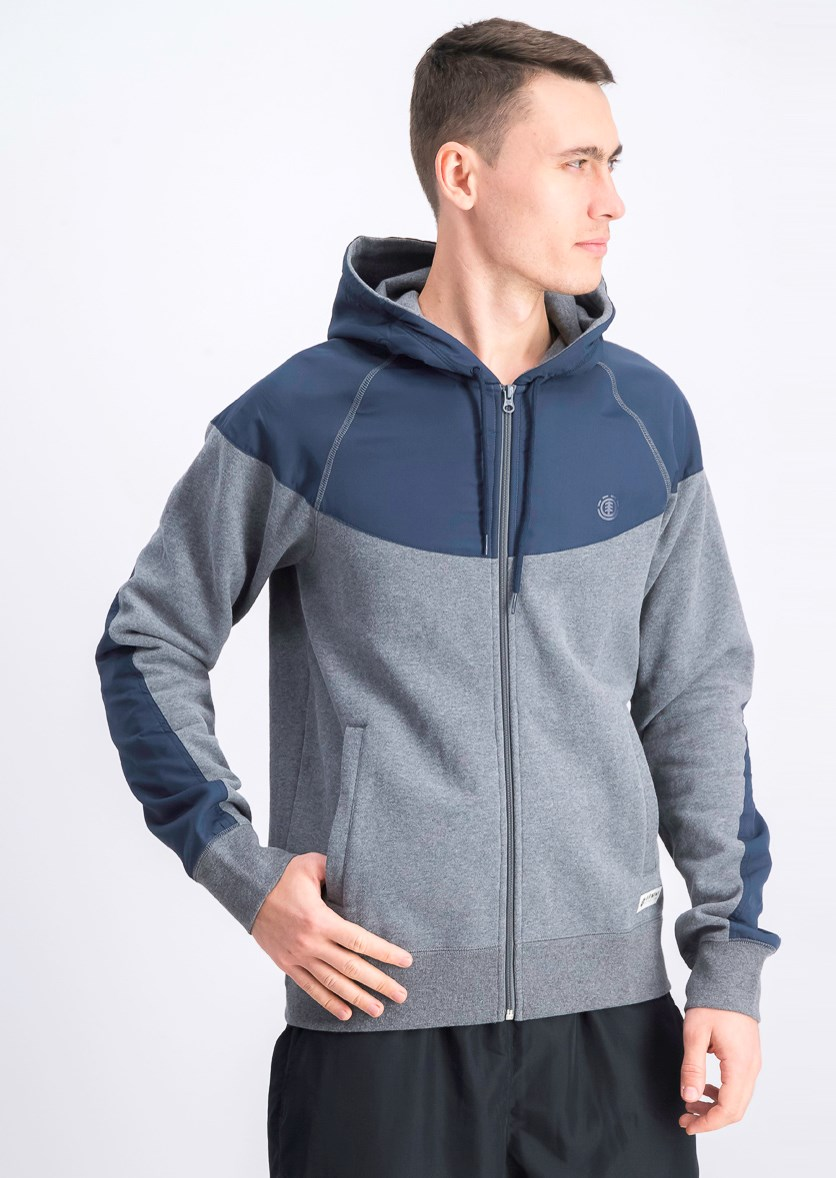 Mens Colorblocked Zip-Front Hoodie, Grey Heather/Navy