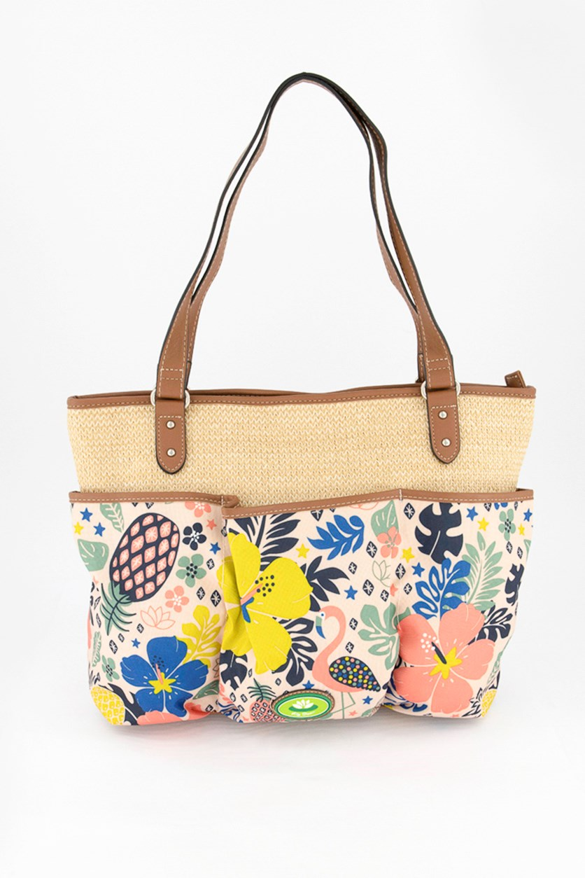 Women's Nessa Printed Tote Bag, Brown Combo