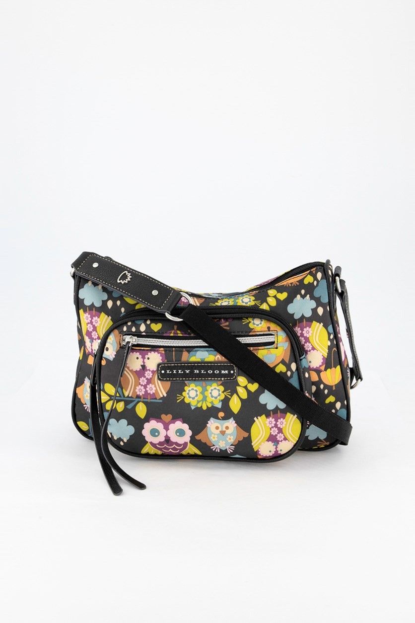 Women's Printed Cross Body Bag, Black Combo