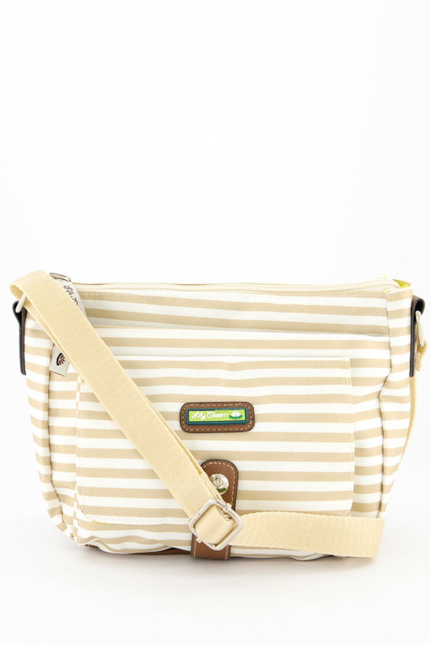 Stripe Body Bag, Khaki/White