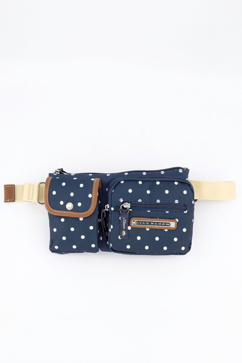 Polka Dot Janet Belt Bag, Navy