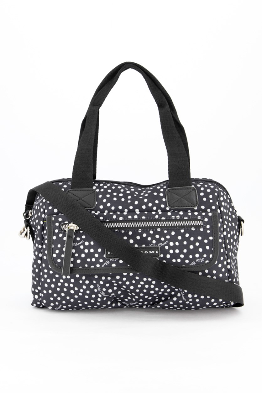 Women's Cross Body Bag, Dancing Dots Black