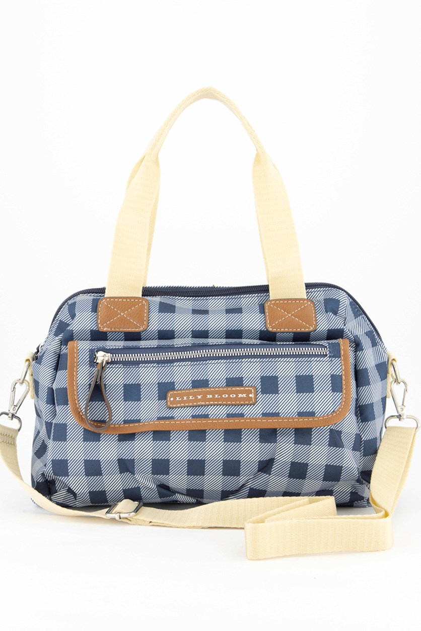 Women's Picnic Plaid Satchel, Navy Combo