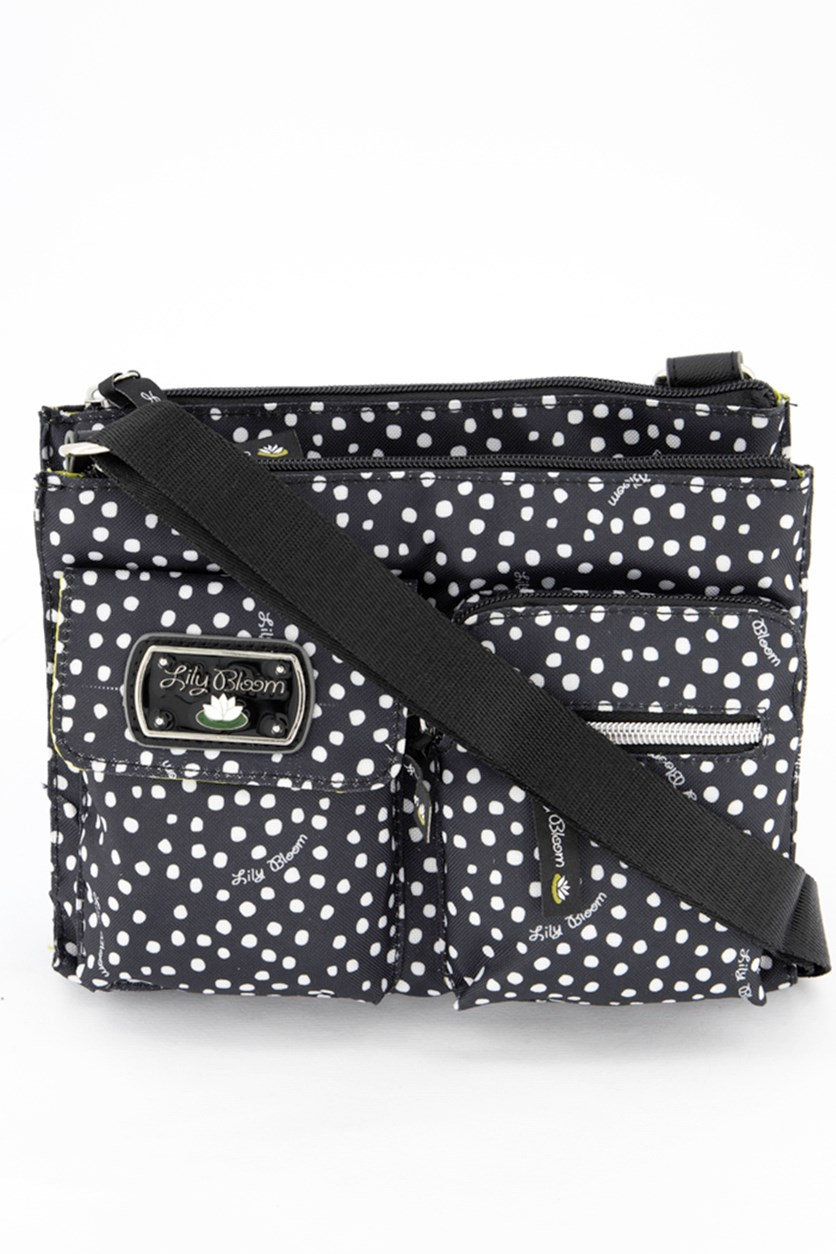 Dancing Dots Regina Mid Cross Body Bag, Black