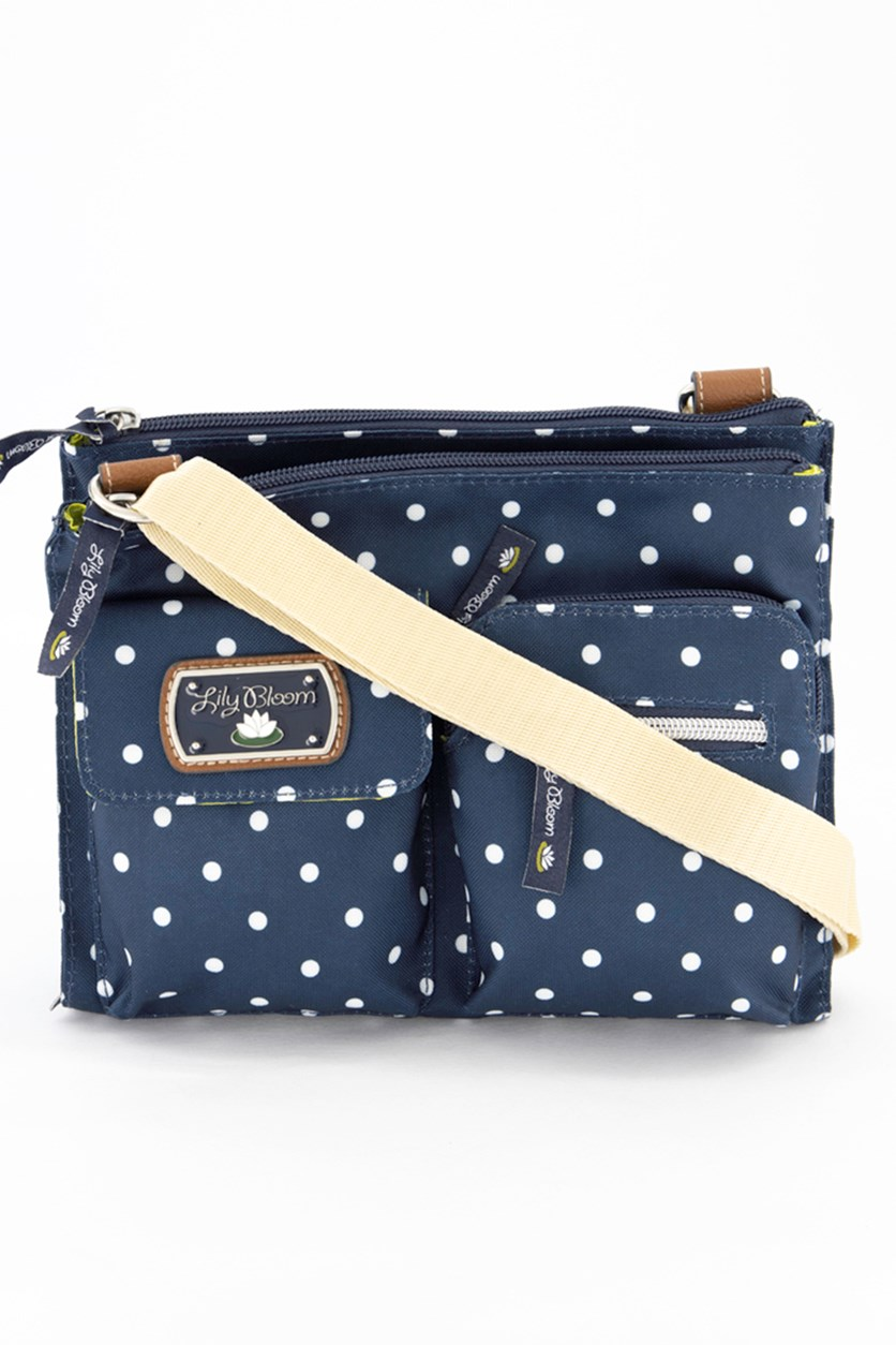 Polka Dot Regina Mid Cross Body Bag, Navy