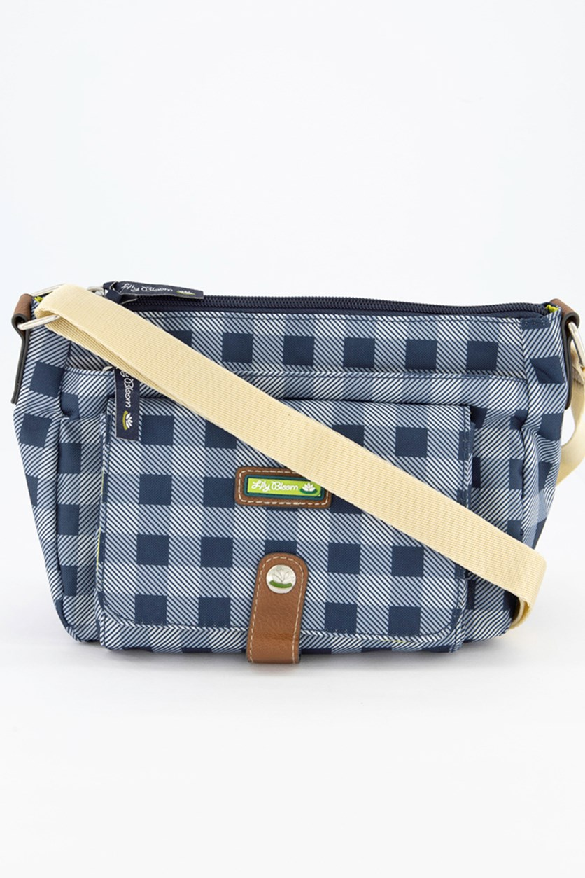 Cristina Mid Picnic Plaid Cross Body Bag, Navy