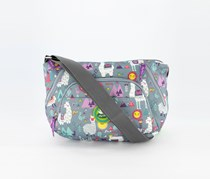 Women's Llama Printed Cross Body Bag, Blue Grey