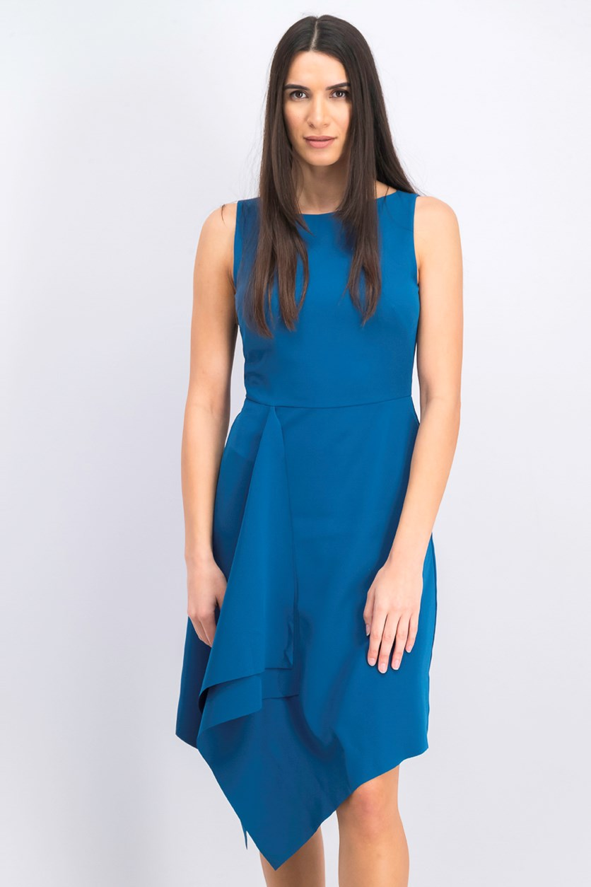 Women's Asymmetrical a-Line Dress, Blue