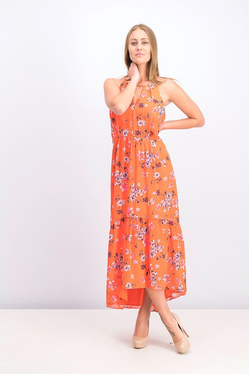 Floral-Print Chiffon High-Low Dress, Orange Combo