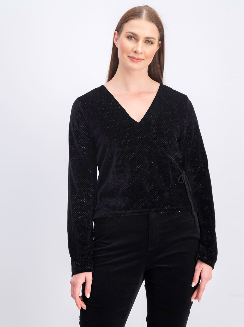 Juniors' Tie-Side Glitter Top, Black