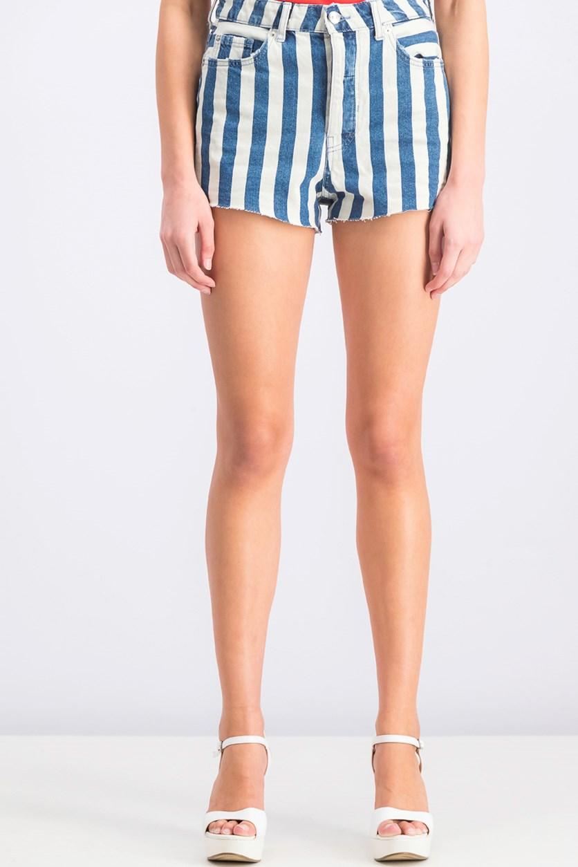Women's Striped Denim Shorts, Navy/White