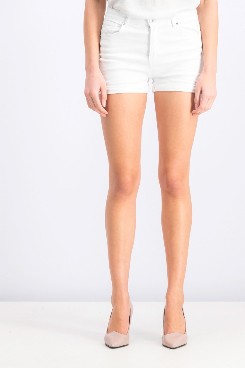 Women's Rolled-Up Rip Denim Shorts, White