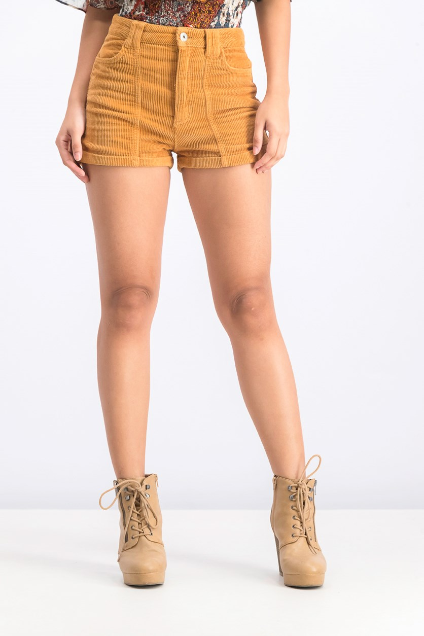 Women's Corduroy Shorts, Golden Brown
