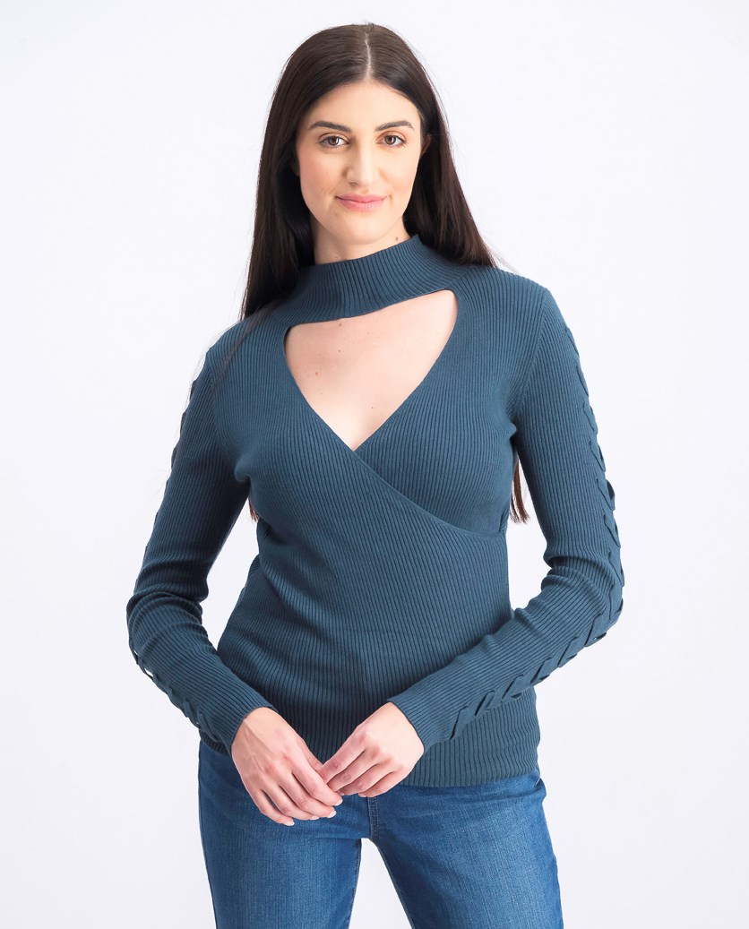 Juniors' Choker-Neck Ribbed Sweater, Teal