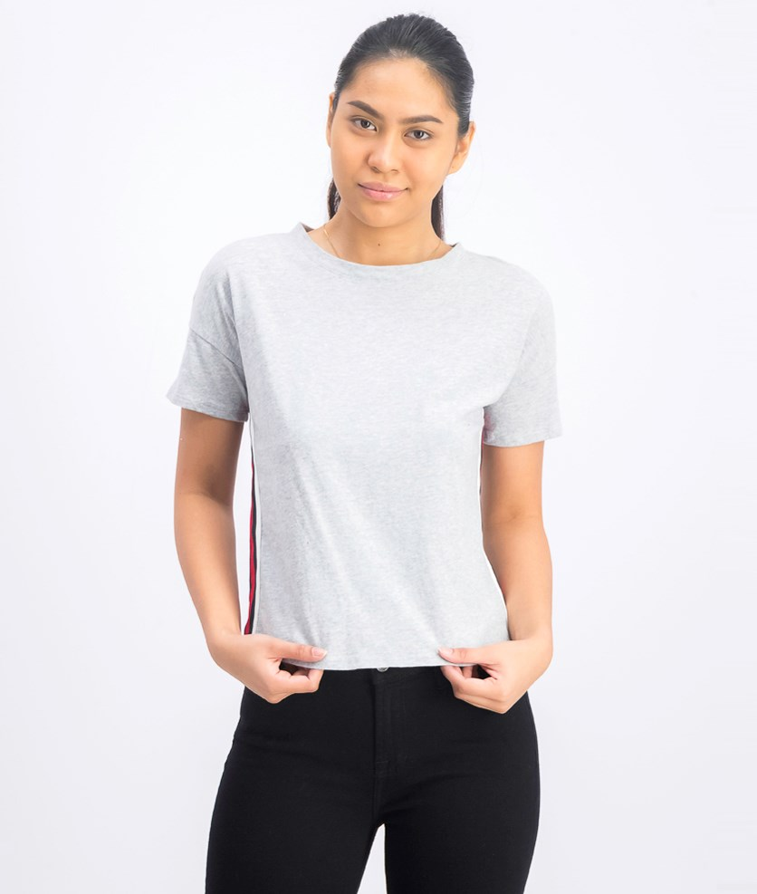 Juniors' Cotton Side-Stripe T-Shirt, Light Heather Grey