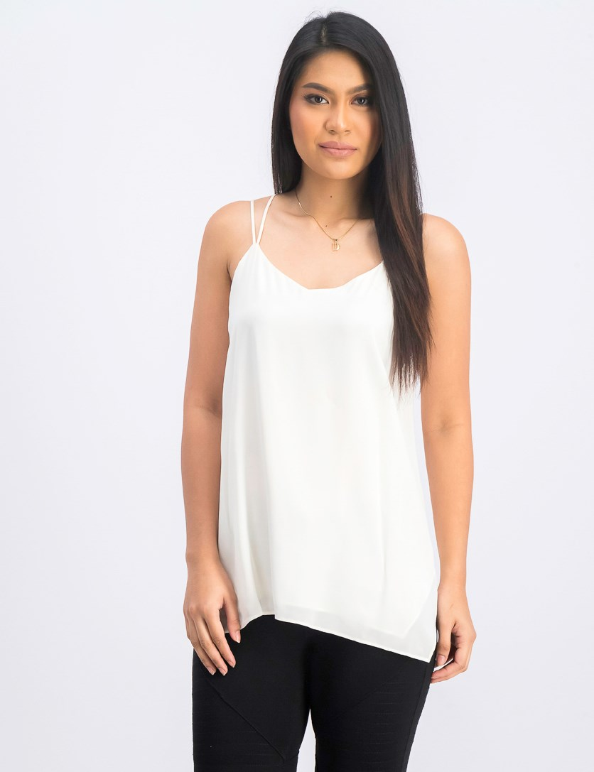 Women Plain Sleeveless Top, Cream