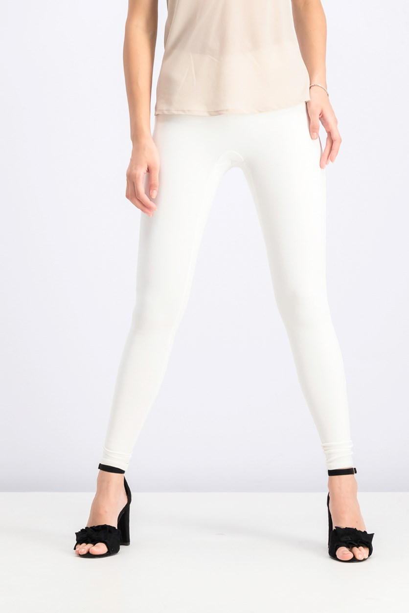 Fine Rib Knit Leggings, Chalk