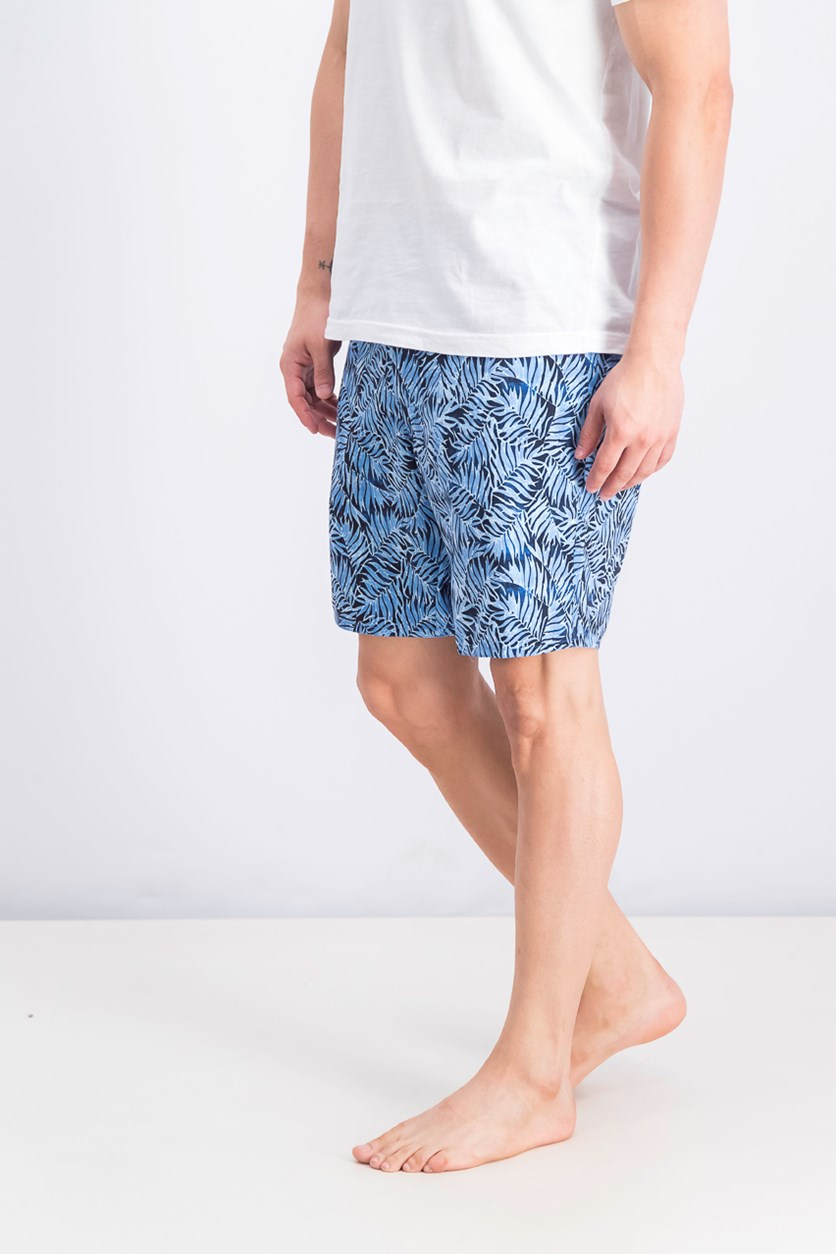 Men's Palm Print Swim Trunks, Bllue