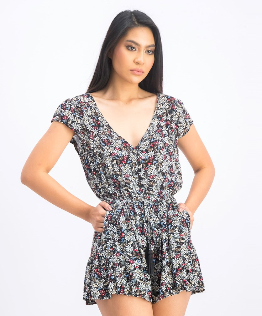 Womens Floral Print Cap Sleeves Romper, Black Pattern